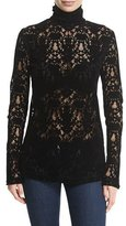 DKNY Long-Sleeve Lace Turtleneck Top, Black