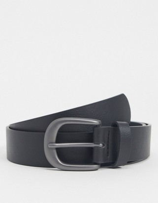 ASOS DESIGN wide belt in black faux leather with burnished silver buckle