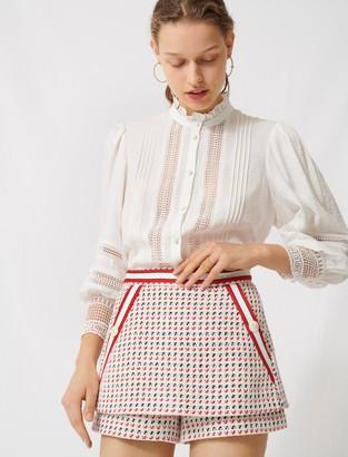 Maje Short tweed-style trompe-lil skirt