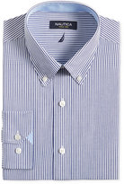 Nautica Navy and White Stripe Dress Shirt