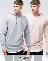 Asos Hoodie & Sweatshirt 2 Pack In Gray Marl/ Pink