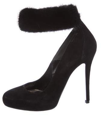 Alexander McQueen Mink Ankle-Strap Pumps