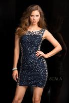 Scala 48726 Short Sequin Cocktail Dress with Illusion Neckline