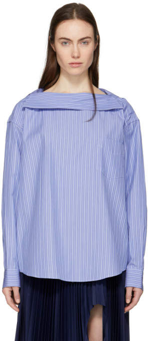 Toga Blue Striped Altered Collar Shirt