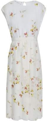 Giambattista Valli Grosgrain-trimmed Floral-print Silk-organza Midi Dress