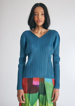 Pleats Please Issey Miyake Women's Long Sleeve V-Neck Top in Teal Blue, Size 3