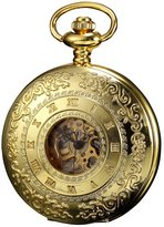 K&S KS Men's KSP045 Steampunk Mechanical Pocket Watch Pandant Roman Number Half Hunter Gold Tone Case