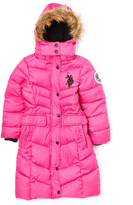 U.S. Polo Assn. Fuchsia Long Puffer Coat - Girls