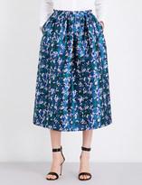 Oscar de la Renta Printed silk-mikado midi skirt