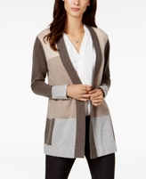 Charter Club Petite Cashmere Colorblocked Cardigan, Created for Macy's