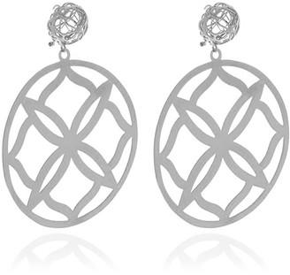 Georgina Jewelry Silver Runway Flower Earrings