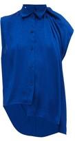 Balenciaga Asymmetric Floral-jacquard Top - Womens - Blue