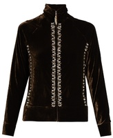 Wales Bonner Oryema embellished velvet zip-through top
