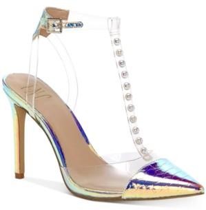 INC International Concepts Inc Women's Kahtia T-Strap Iridescent Pumps, Created for Macy's Women's Shoes