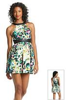 Eric Lani Eric + Lani® Petal Crepe Faux Leather Detail Dress