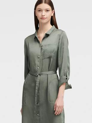 DKNY Belted Maxi Shirt Dress