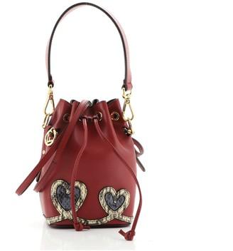 Fendi Mon Tresor Bucket Bag Python Embellished Leather Mini