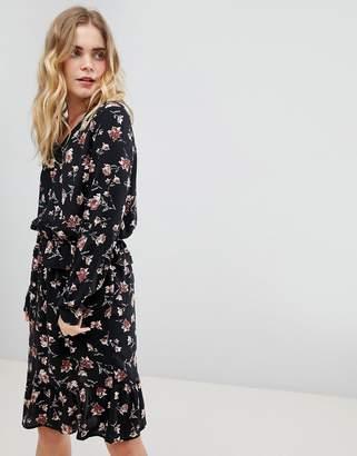 Ichi Frill Hem Floral Dress-Multi