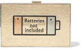 Anya Hindmarch Imperial Batteries Not Included Metallic Textured-Leather Clutch