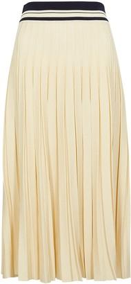Tory Burch Cream pleated stretch-knit midi skirt