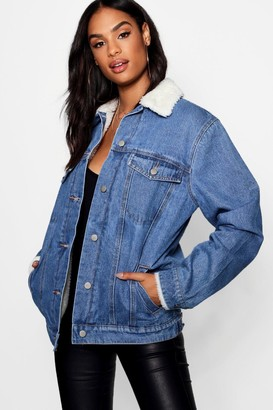 boohoo Tall Borg Lined Denim Jacket