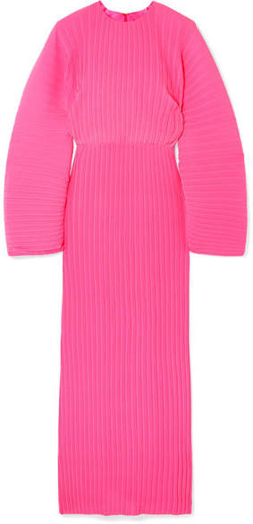 SOLACE London The Mirabelle Plissé-chiffon Maxi Dress - Fuchsia