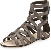 Brian Atwood B by Snake-Embossed Leather Gladiator, Army/Bronze
