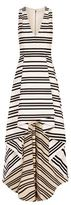 Alice + Olivia Striped Drop Hem Gown