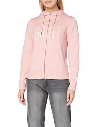 Gant Women's D1. Logo Full Zip Hoddie Hoodie, (Preppy Pink 614), XX-Large