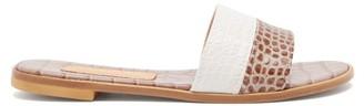 BEIGE Avec Moderation - Bahamas Crocodile-effect Leather Slides - Womens White