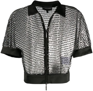 Emporio Armani Sequin Sheer Cropped Jacket