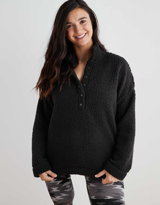 aerie Cloud Sherpa Snap Oversized Pullover