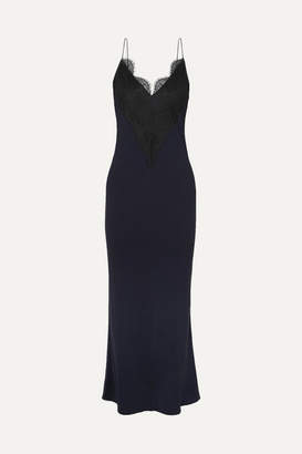 By Malene Birger Stefani Lace-trimmed Satin Midi Dress - Navy