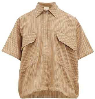 Marrakshi Life - Striped Cotton-blend Oversized Shirt - Mens - Camel