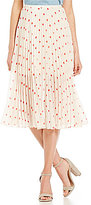 BB Dakota Ginevra Pleated Chiffon Polka Dot Skirt
