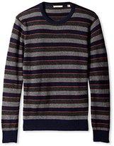 Cashmere Addiction Men's Stripe Crew Neck Sweater