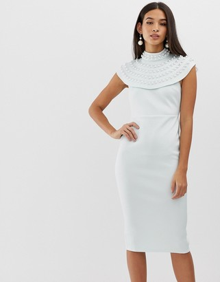 ASOS DESIGN pearl embellished cape midi pencil dress