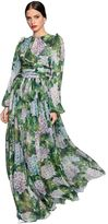 Dolce & Gabbana Hydrangea Printed Silk Chiffon Dress