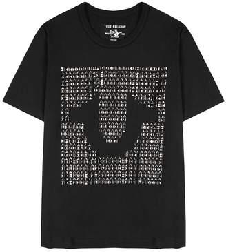 True Religion Black Studded Logo Cotton T-shirt