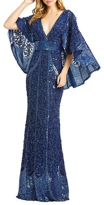 Mac Duggal Embellished Cape-Sleeve Column Gown