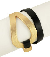 Saachi Looped Metal Genuine Leather Bracelet