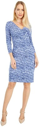 Lauren Ralph Lauren Cleora Long Sleeve Day Dress (Black/Blue/Multi) Women's Dress