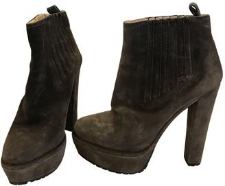 Prada Brown Velvet Ankle boots
