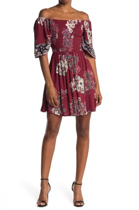 Angie Floral Smocked Short Sleeve Dress