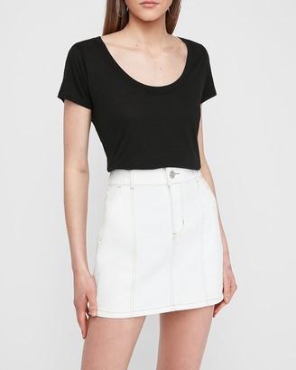 Express High Waisted White Seamed A-Line Denim Mini Skirt