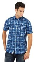 Mantaray Navy Floral Checked Print Shirt