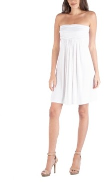 24seven Comfort Apparel Strapless Empire Waist Mini Dress
