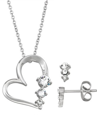 Brilliance+ Brilliance Graduated Heart Pendant Necklace & Stud Earring Set with Swarovski Crystals