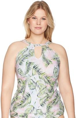 Sunsets Women's Hannah Hi-Neck Plus Size DD/E Tankini Top Swimsuit