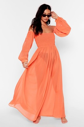Nasty Gal Womens Sheer At the Beach Cover-Up Maxi Dress - Orange - 6